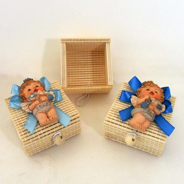 Scatoline in bambu con angeli in resina