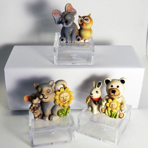 Scatoline con animaletti in resina