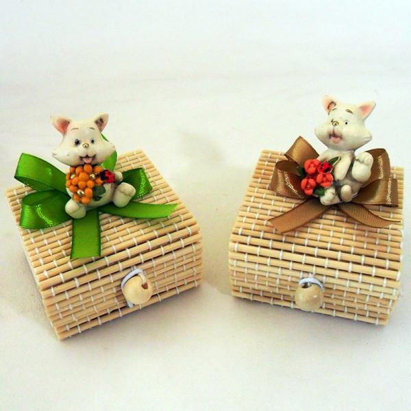 Scatoline in bambu con gattini in resina