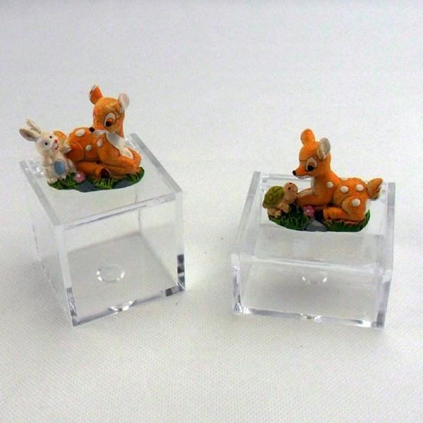 Scatoline in plastica con cerbiatto in resina