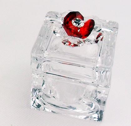 Scatola portagioie con fiore in cristallo vari colori