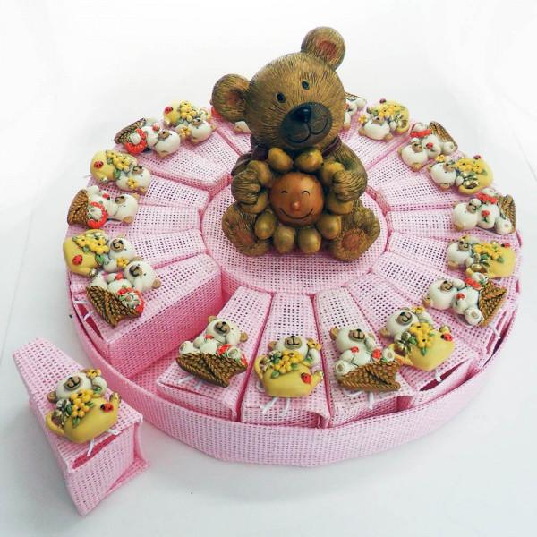 Torta con calamite orsetti, 20 scatoline rosa più salvadanaio centrale