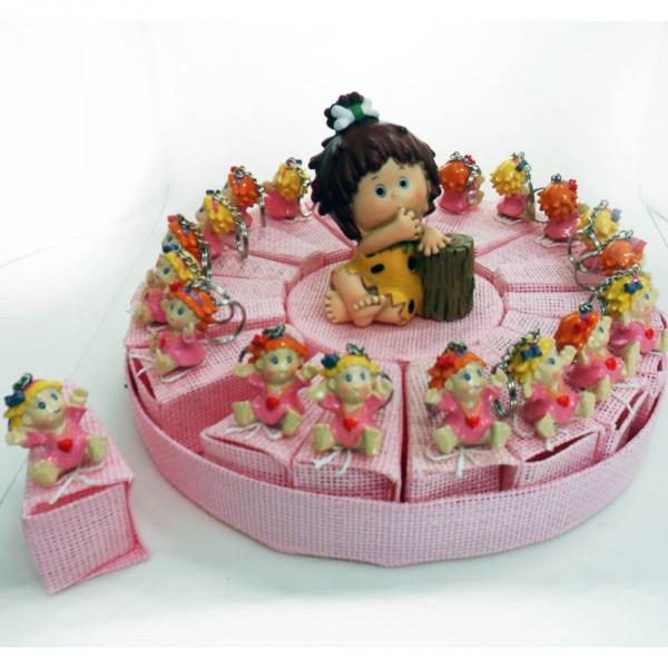 Torta con bimbe a portachiavi, 20 scatoline rosa più salvadanaio centrale