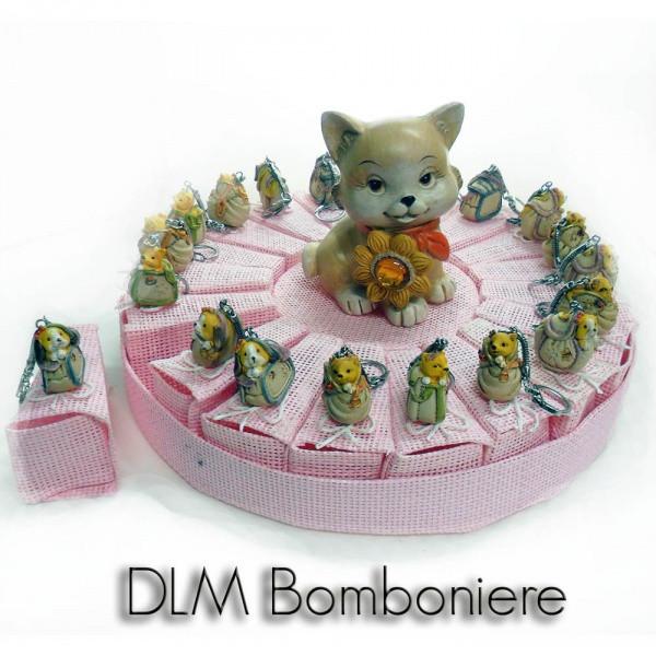 Torta con animaletti a portachiave, 20 scatoline rosa più salvadanaio centrale