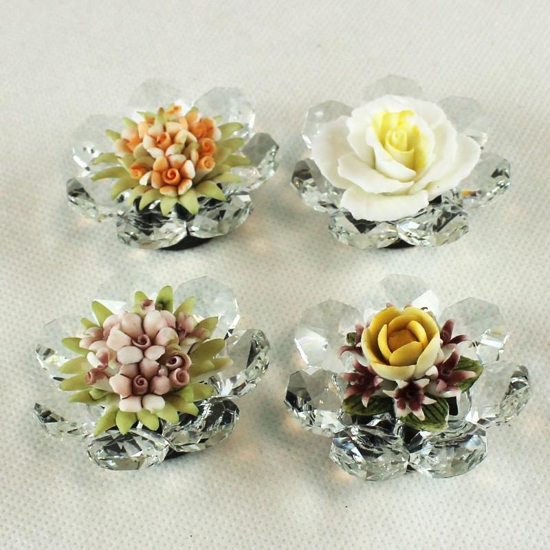 Calamita in Cristallo con Fiore in Ceramica Assortiti