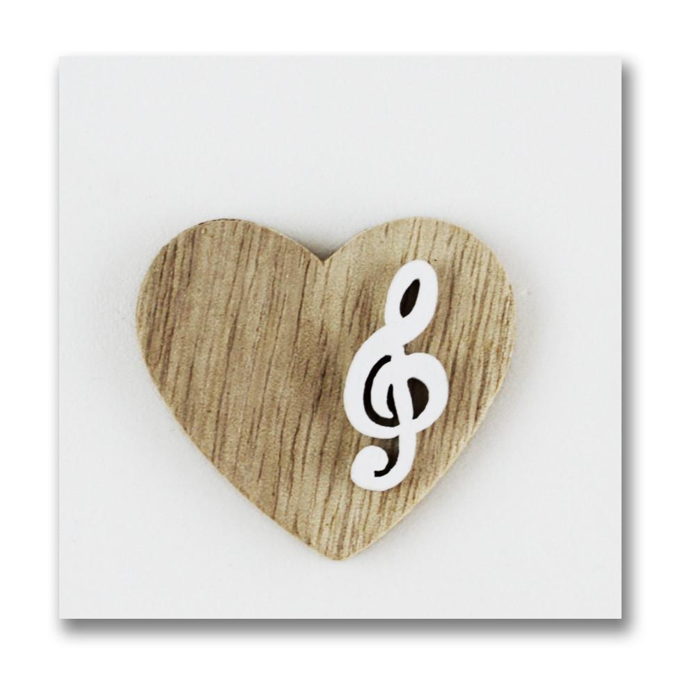 Calamita Magnete Cuore in legno Chiave di Violino Sol Musica Confettata Segnaposto