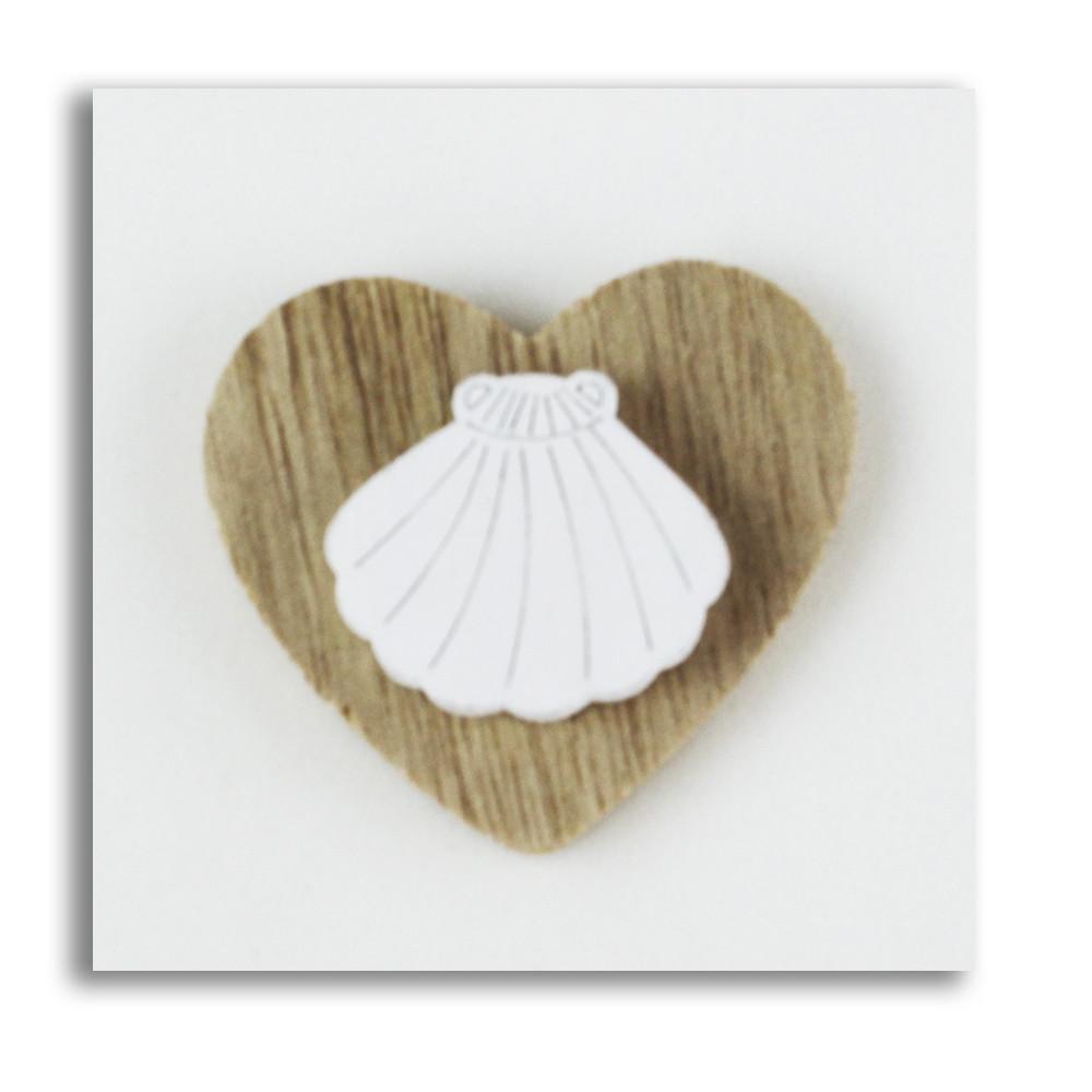 Calamita Magnete Cuore in legno Conchiglia Capasanta Cammino di Santiago Mare Confettata Segnaposto
