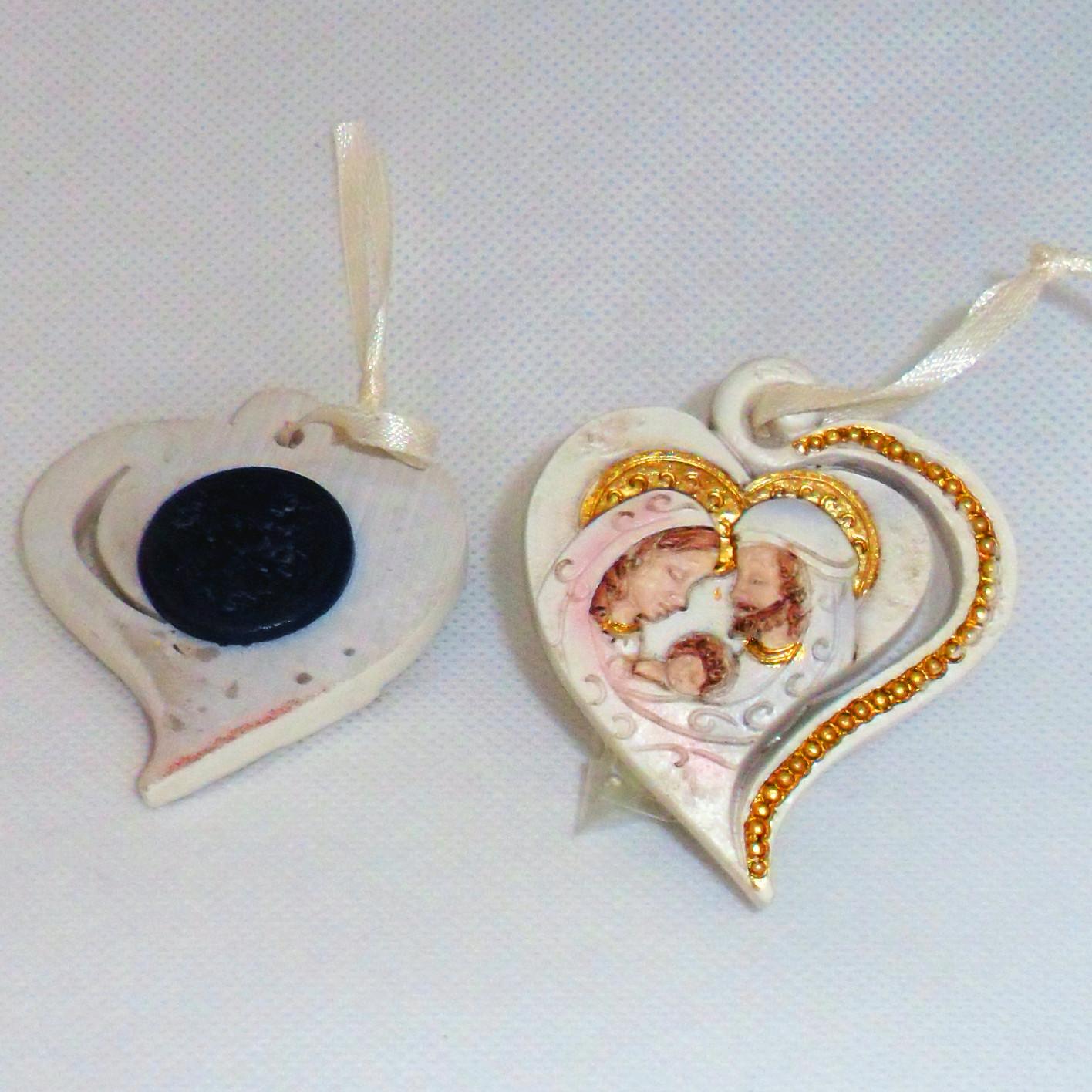 Calamita cuore icona sacra famiglia bambino