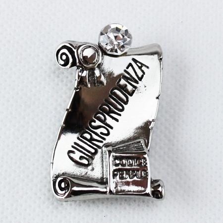 Calamita Magnete Pergamena Laurea in Giurisprudenza metallo argentato