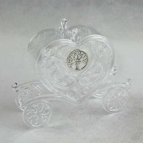 Carrozza Portaconfetti Cuore in Plexiglass con Icona Albero della Vita