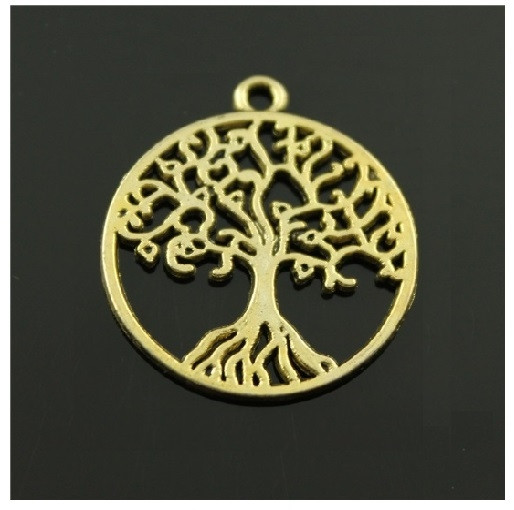Ciondolo Ciondoli Charm Charms Albero della Vita Oro Grande Life Tree Confettata Fai da Te
