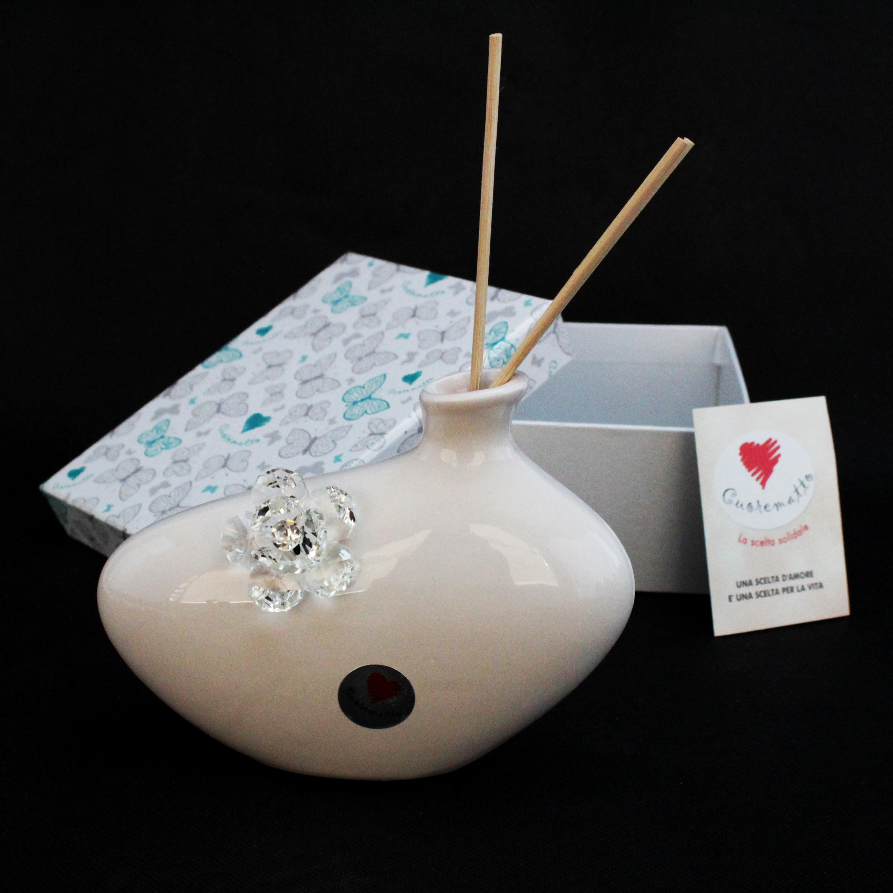 Profumatore in ceramica con fiore cristallo