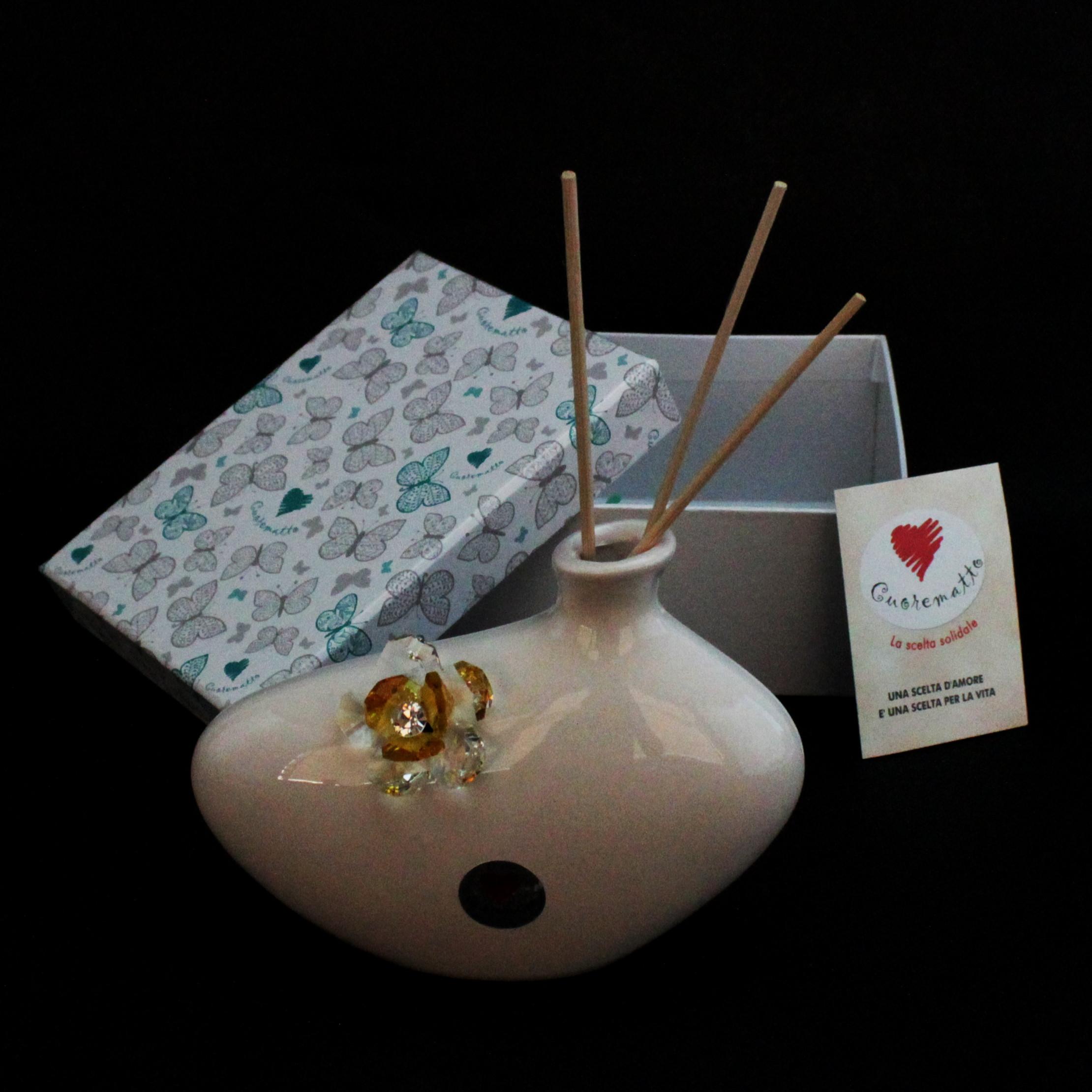 Profumatore in ceramica con fiore cristallo_Giallo