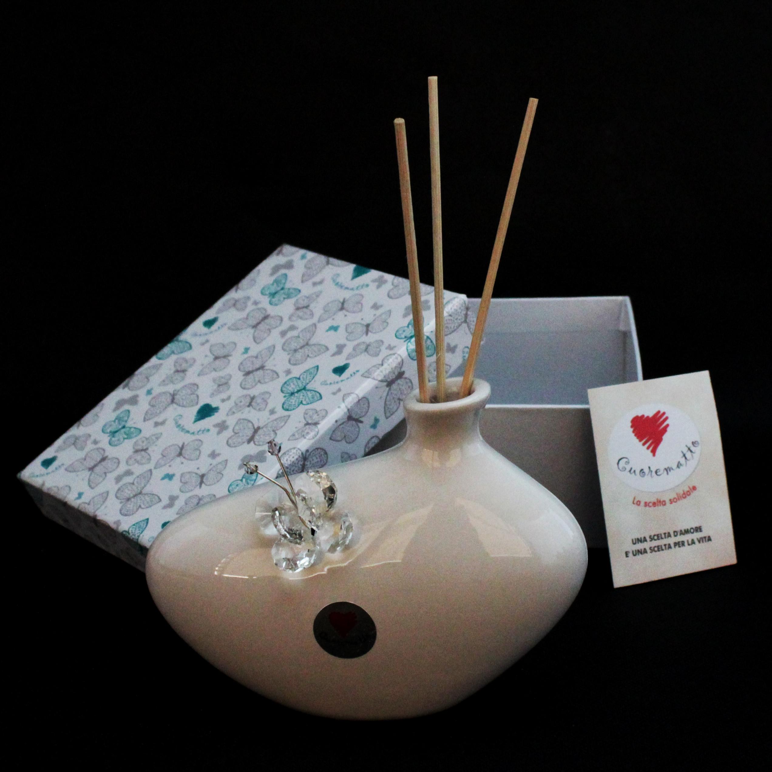 Profumatore in ceramica con farfalla cristallo_Trasparente