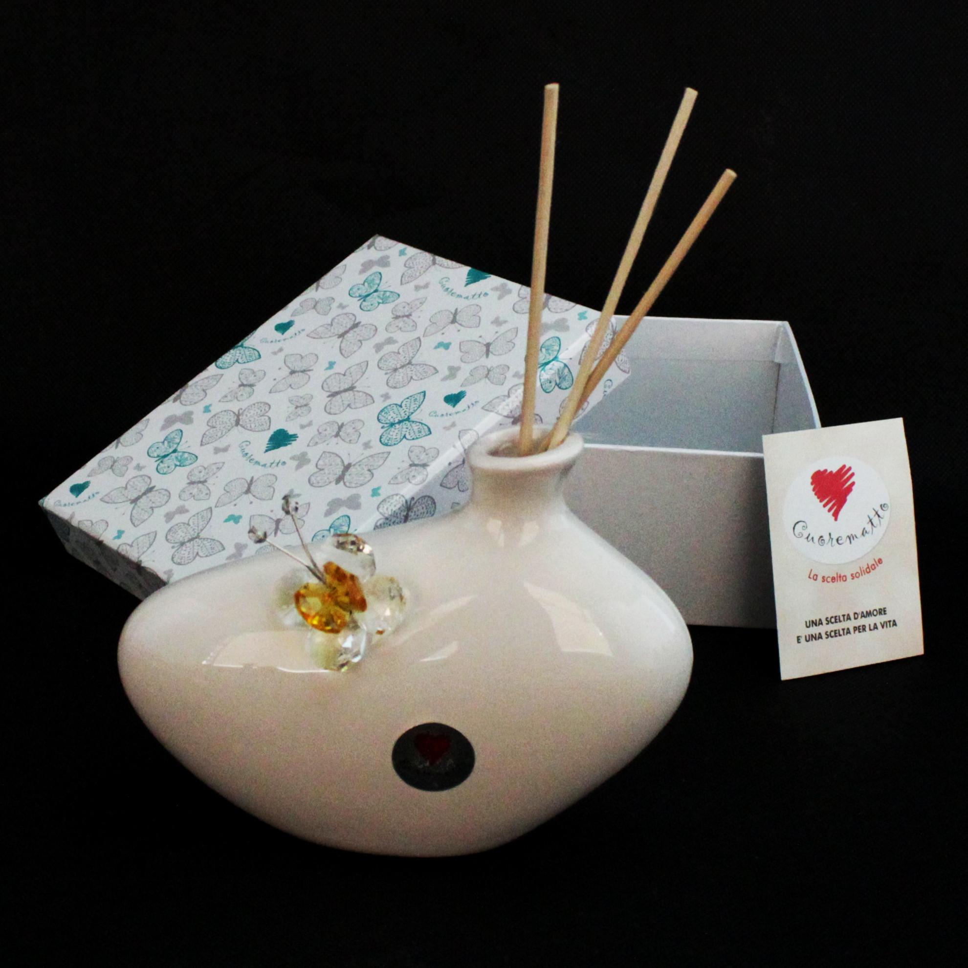 Profumatore in ceramica con farfalla cristallo