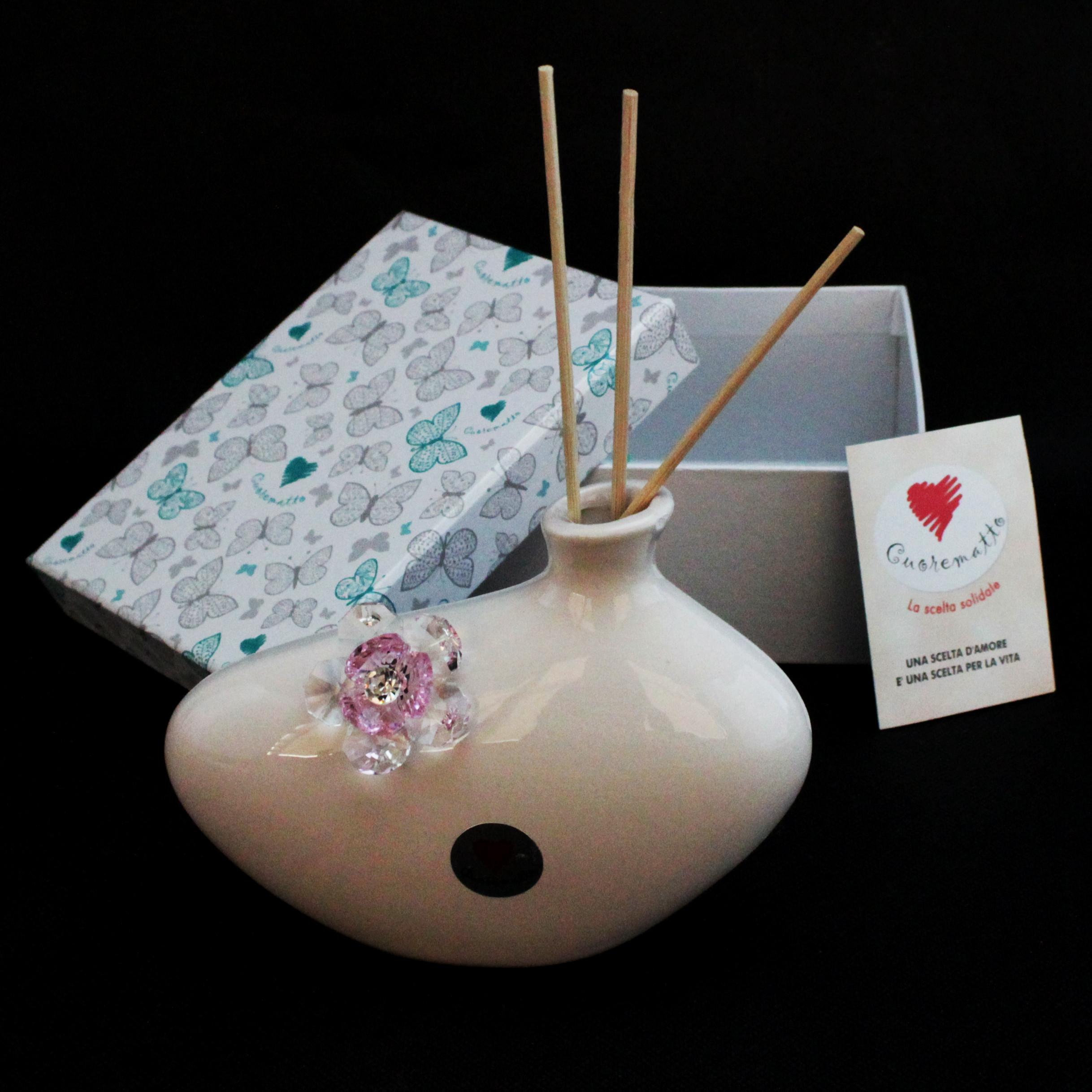 Profumatore in ceramica con fiore cristallo_Rosa