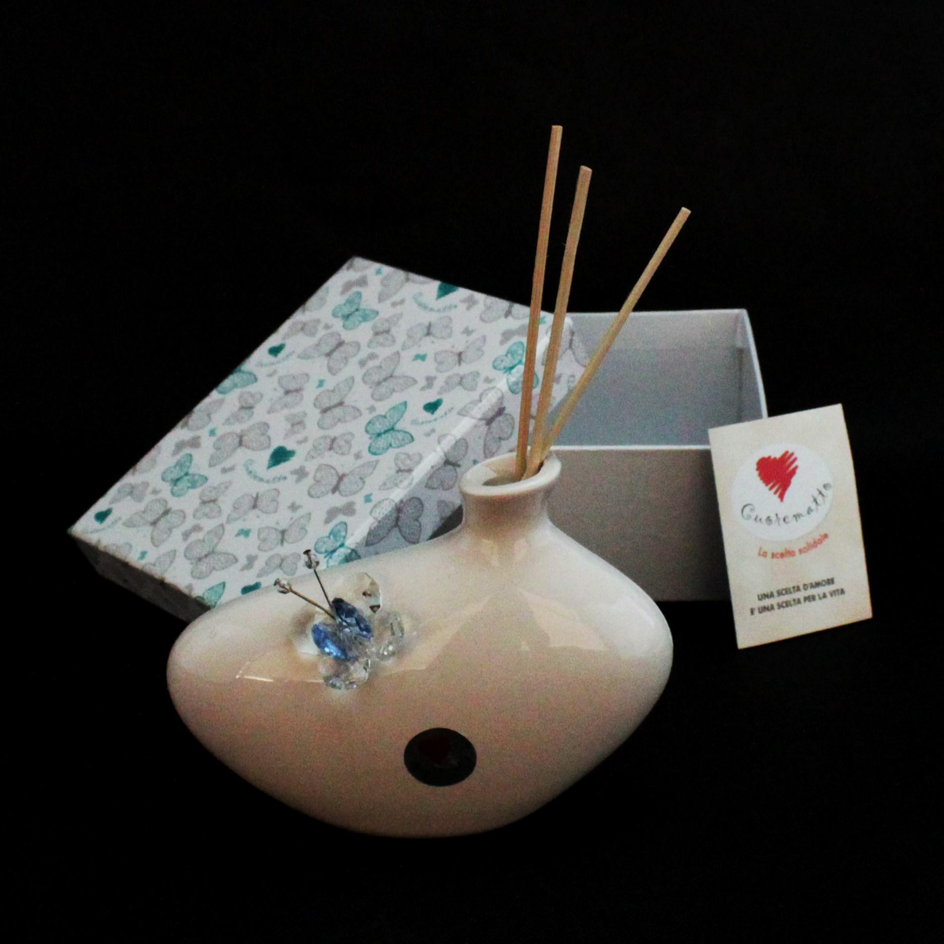Profumatore in ceramica con farfalla cristallo_Azzurro
