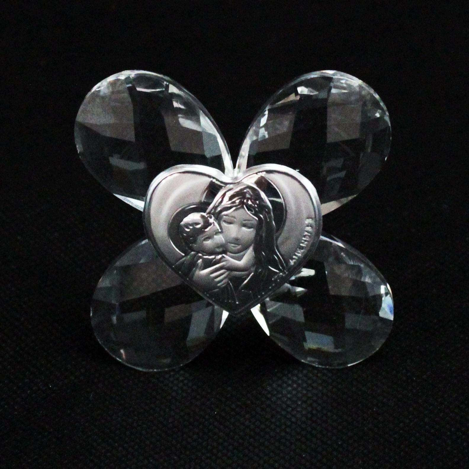 Icona in cristallo Quadrifoglio Madonna con Bambino