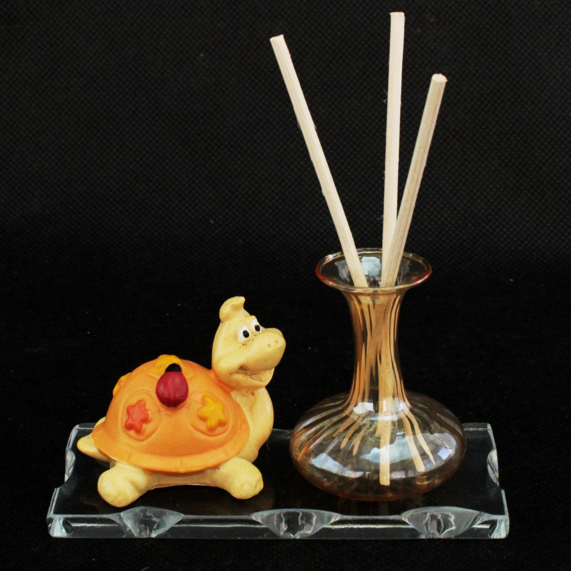 Profumatore in vetro soffiato e cristallo con tartaruga