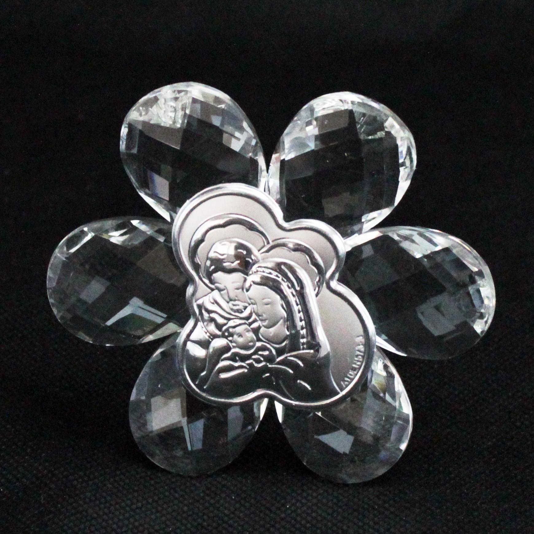 Icona in cristallo Fiore Sacra Famiglia