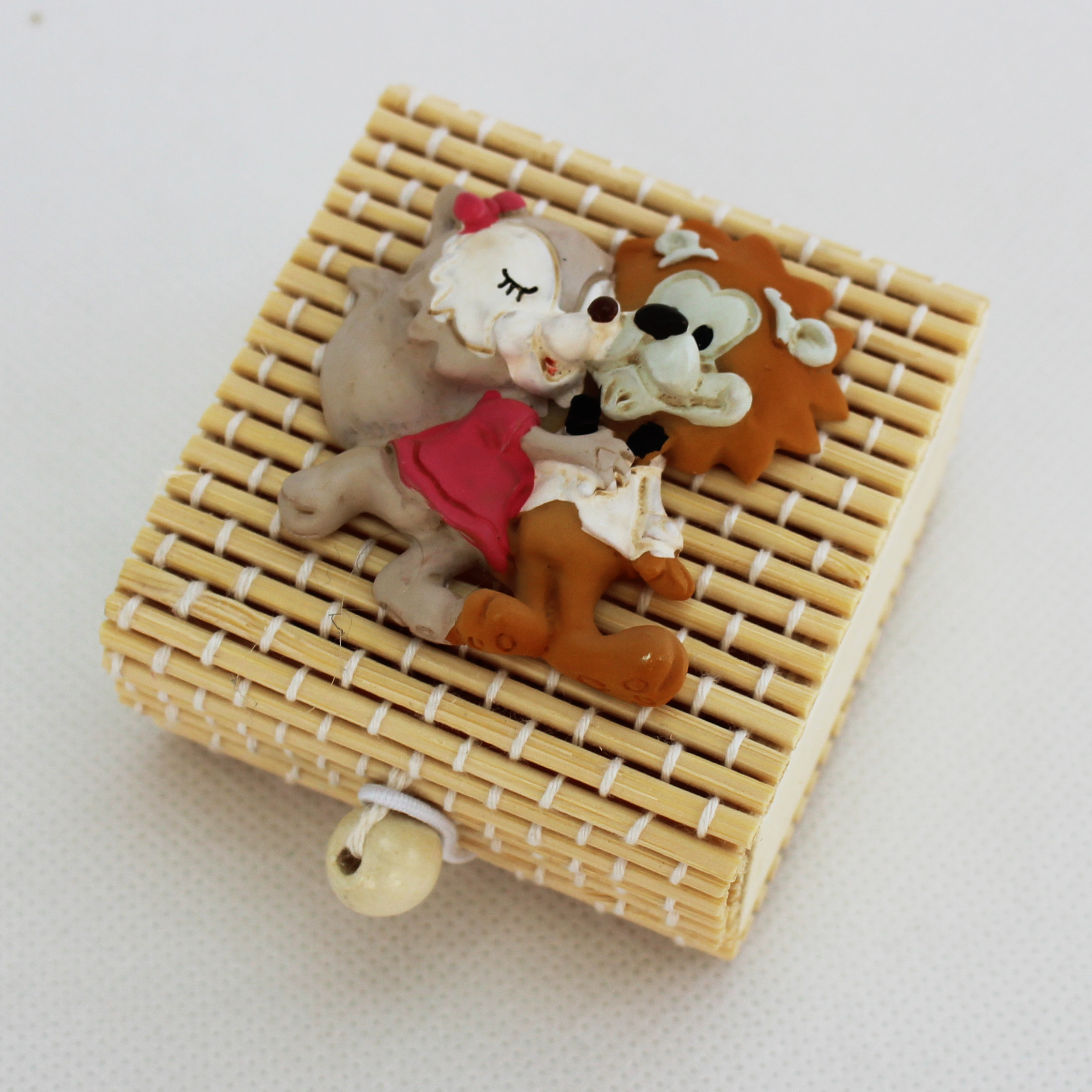 Scatolina in bambù con coppia Sposi Volpi