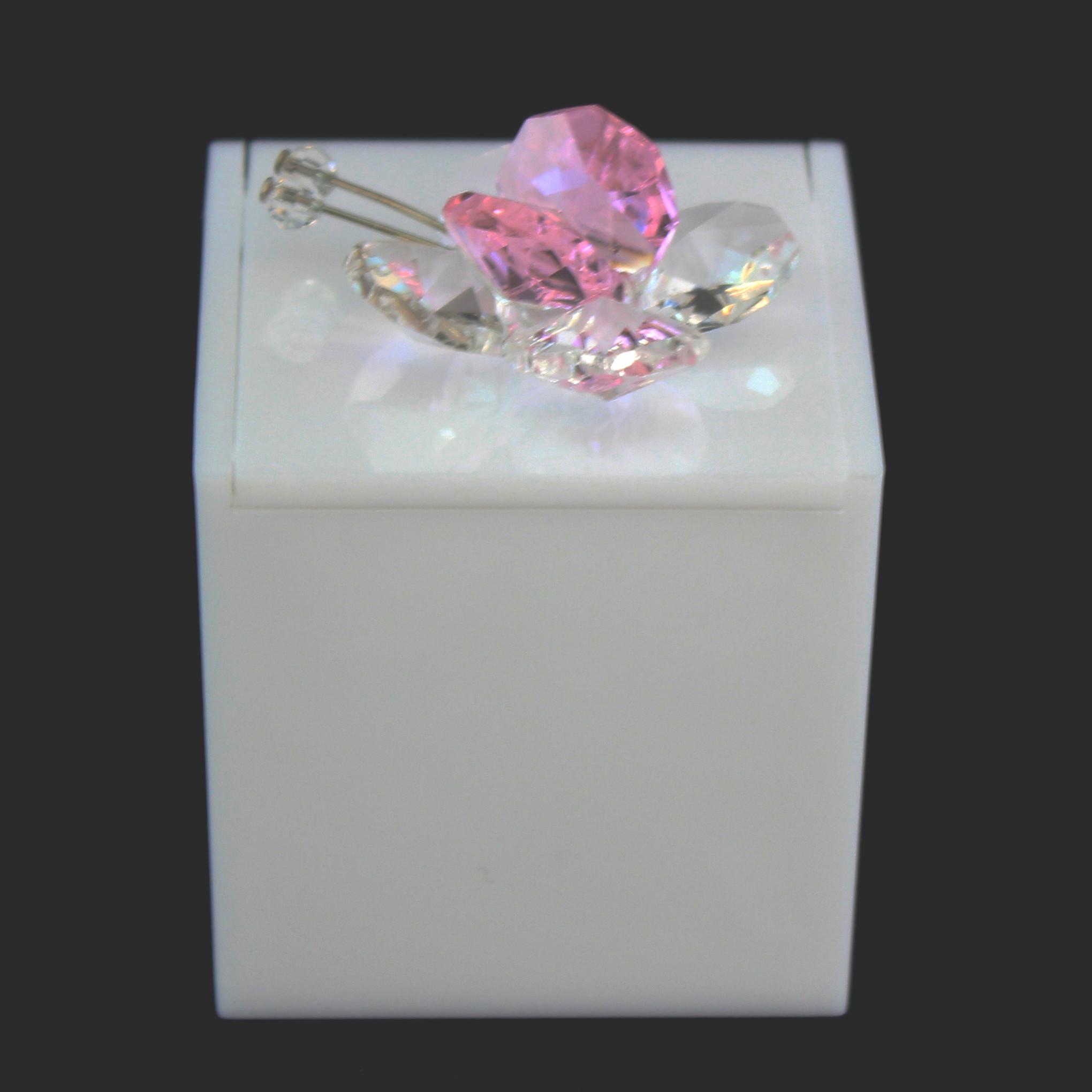 Scatolina in plastica bianco con farfalla in cristallo_Rosa