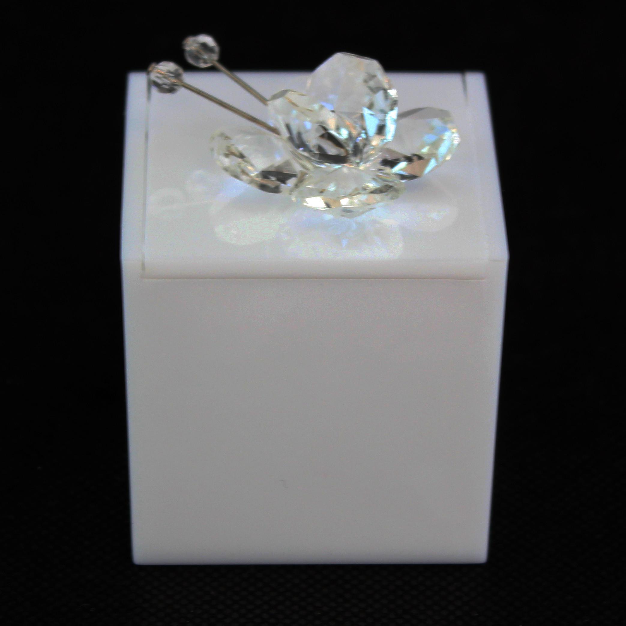 Scatolina in plexiglass bianco con farfalla in cristallo_Trasparente