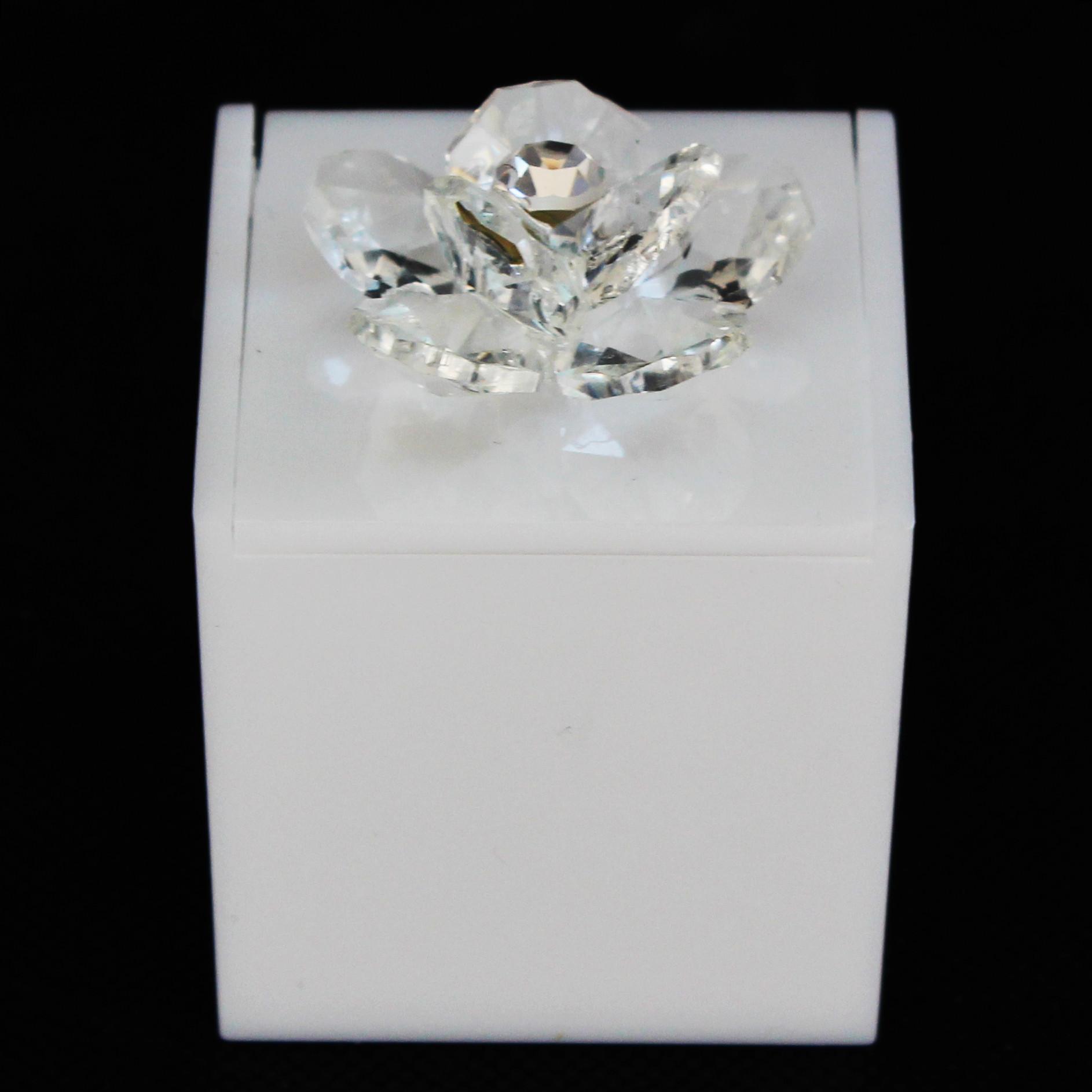 Scatolina in plastica bianco con fiore in cristallo_Trasparente