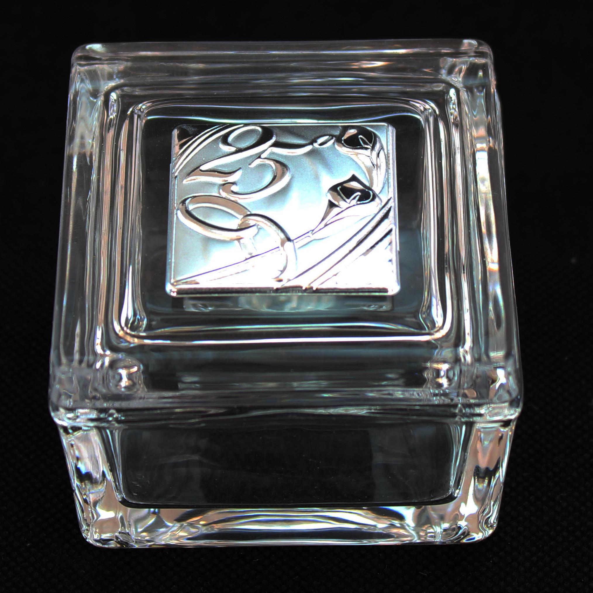 Scatola portagioie in vetro per 25° anniversario