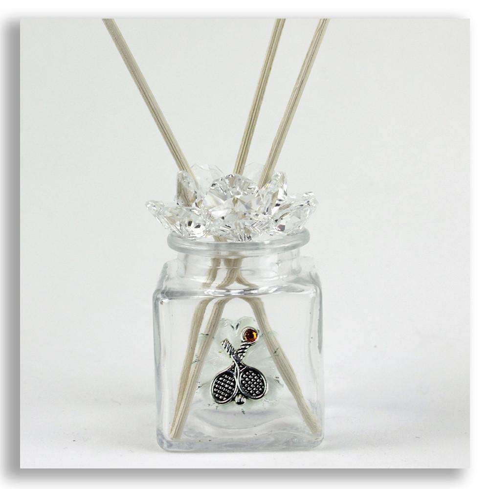 Diffusore barattolo Fiore in cristallo Coppia Racchette Racchetta Tennis Bottiglia Profumatore