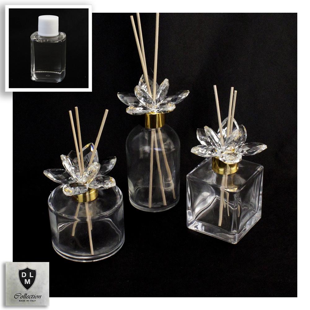 Diffusore Profumatore Oro Gold con Fiore in Cristallo Bottiglia Profumo Ambiente