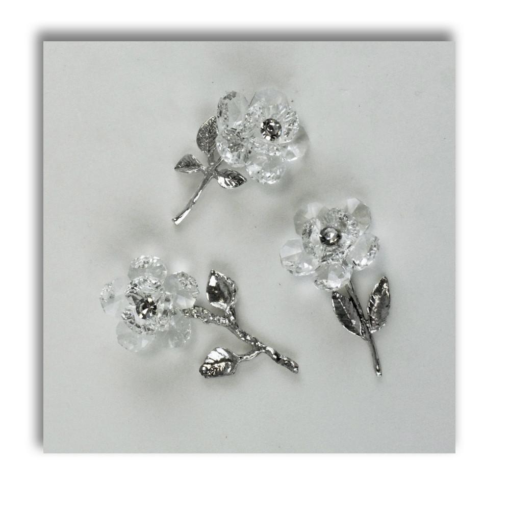 Popolare DLM - Fiore in cristallo Argento Segnaposto 25 Anniversario BK22