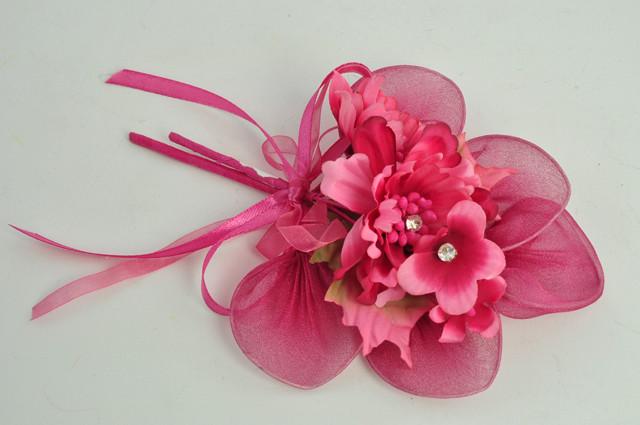 Fiori Finti Fiorellini Rosa con Strass Rametto e Foglie Racchette Portaconfetti Applicazioni Fai Da Te Fucsia