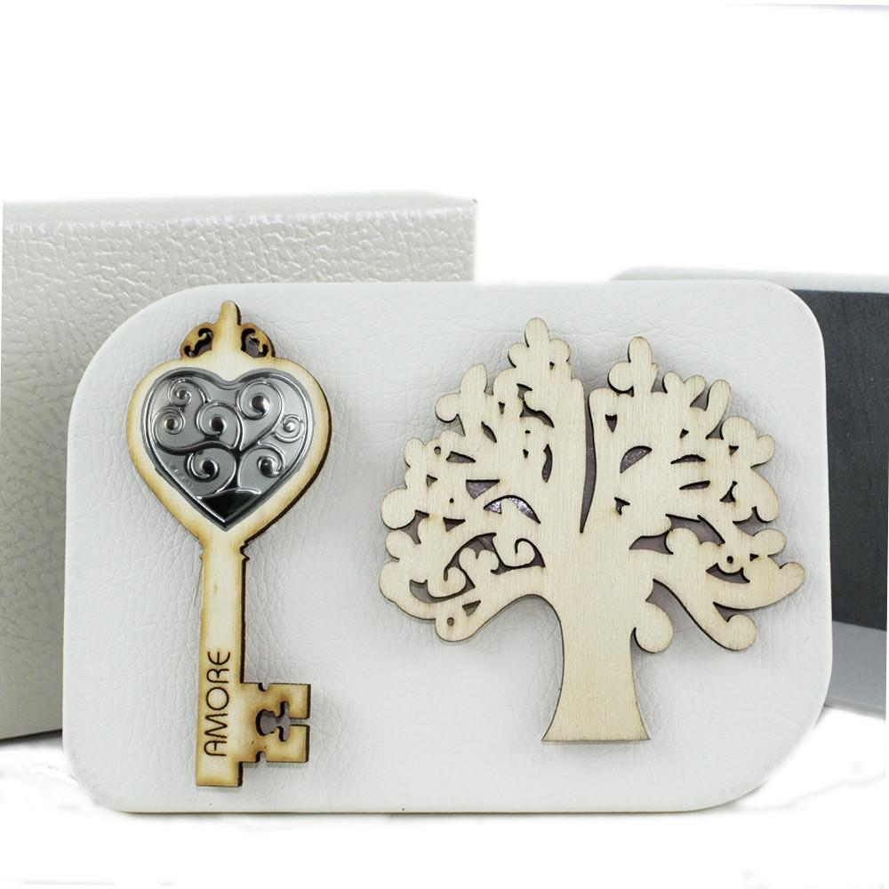 Icona in Ecopelle Chiave Albero della Vita Confettata Idea Regalo