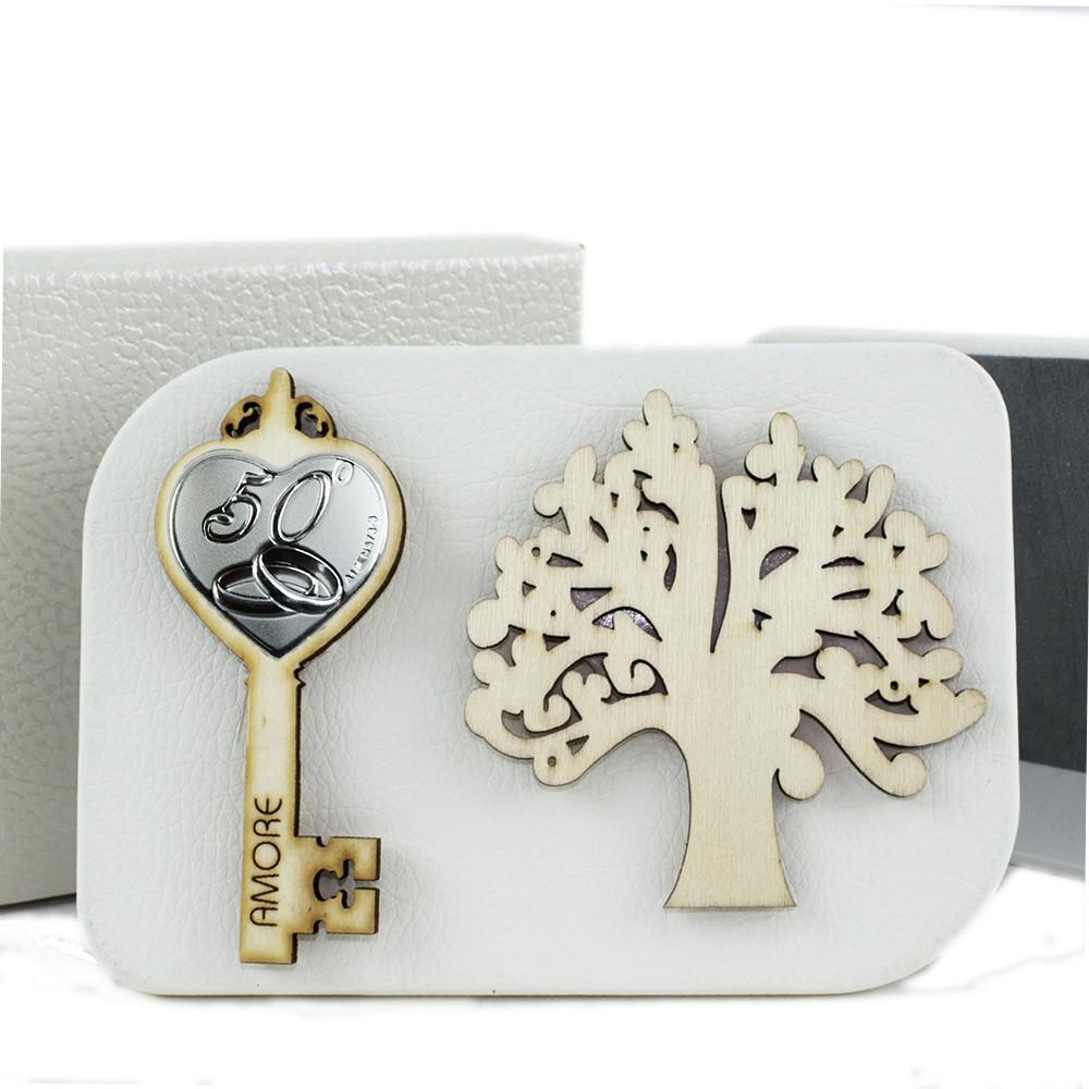 Icona in Ecopelle Chiave Fedi 8 Anniversario Albero della Vita Nozze  Confettata Idea Regalo