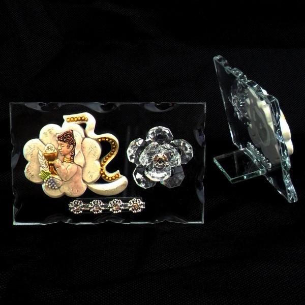 Icona quadrifoglio portafortuna Bimba Comunione e fiore in cristallo