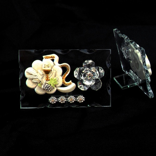 Icona quadrifoglio portafortuna con Calice Prima Comunione e fiore in cristallo