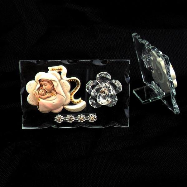 Icona quadrifoglio portafortuna Madonna con Bambino e fiore in cristallo