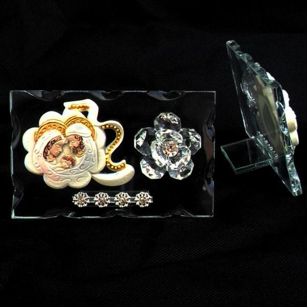 Icona quadrifoglio portafortuna Sacra Famiglia e fiore in cristallo