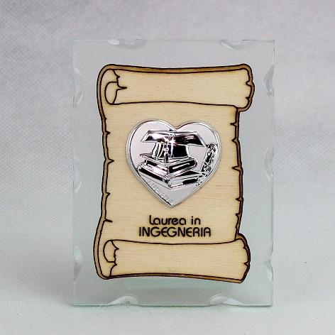 Icona in vetro con Pergamena e Piastra Cuore Laurea in Ingegneria