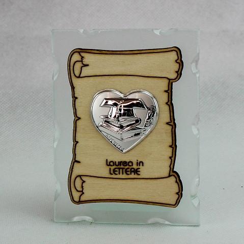 Icona in vetro con Pergamena e Piastra Cuore Laurea in Lettere