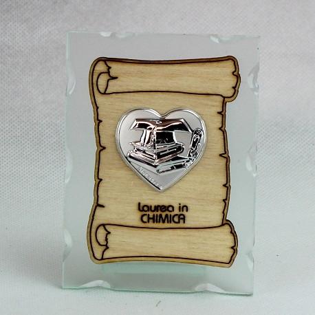 Icona in vetro con Pergamena e Piastra Cuore Laurea in Chimica