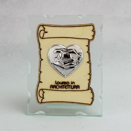 Icona in vetro con Pergamena e Piastra Cuore Laurea in Architettura