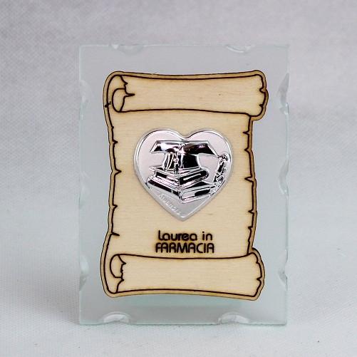 Icona in vetro con Pergamena e Piastra Cuore Laurea in Farmacia