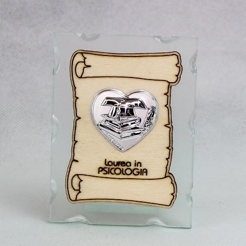 Icona in vetro con Pergamena e Piastra Cuore Laurea in Psicologia