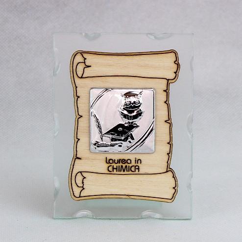Icona in vetro con Pergamena Laurea in Chimica