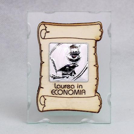 Icona in vetro con Pergamena Laurea in Economia