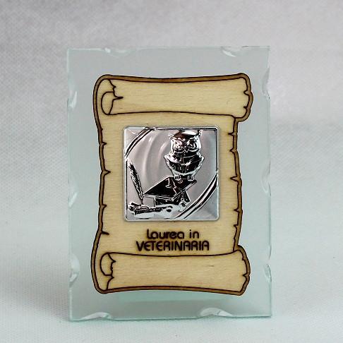 Icona in vetro con Pergamena Laurea in Veterinaria