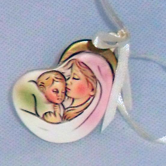 Icona madonna con bambino con appendino