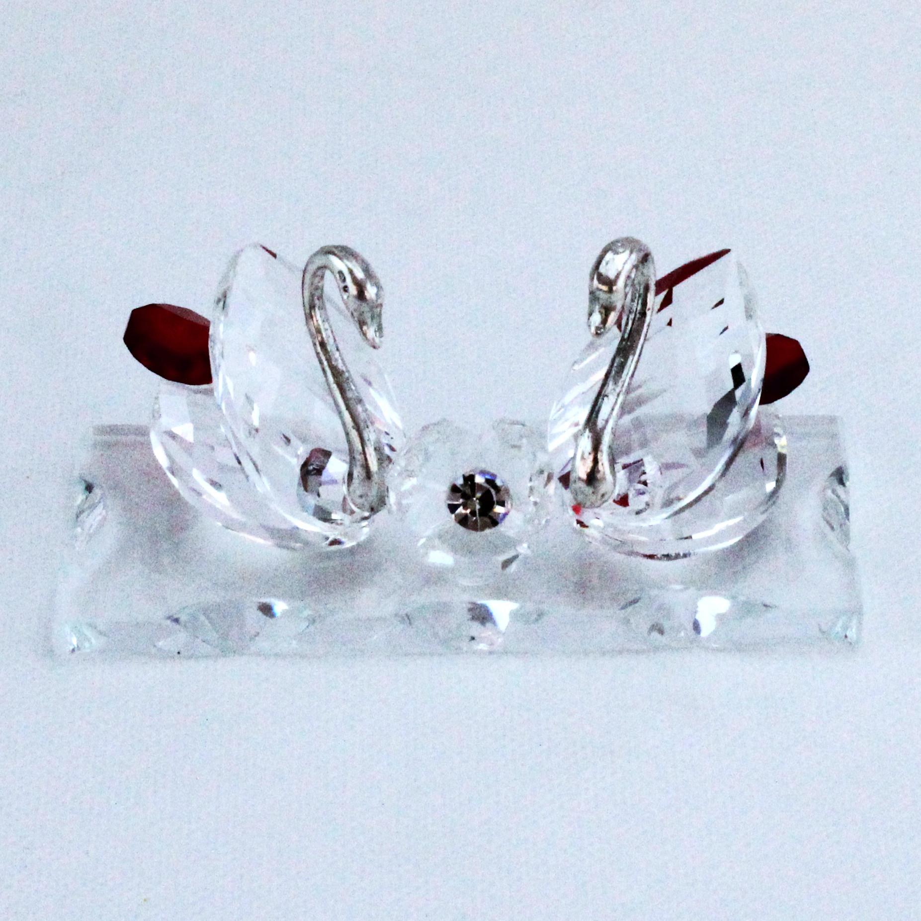 Coppia Cigni con Fiore in cristallo